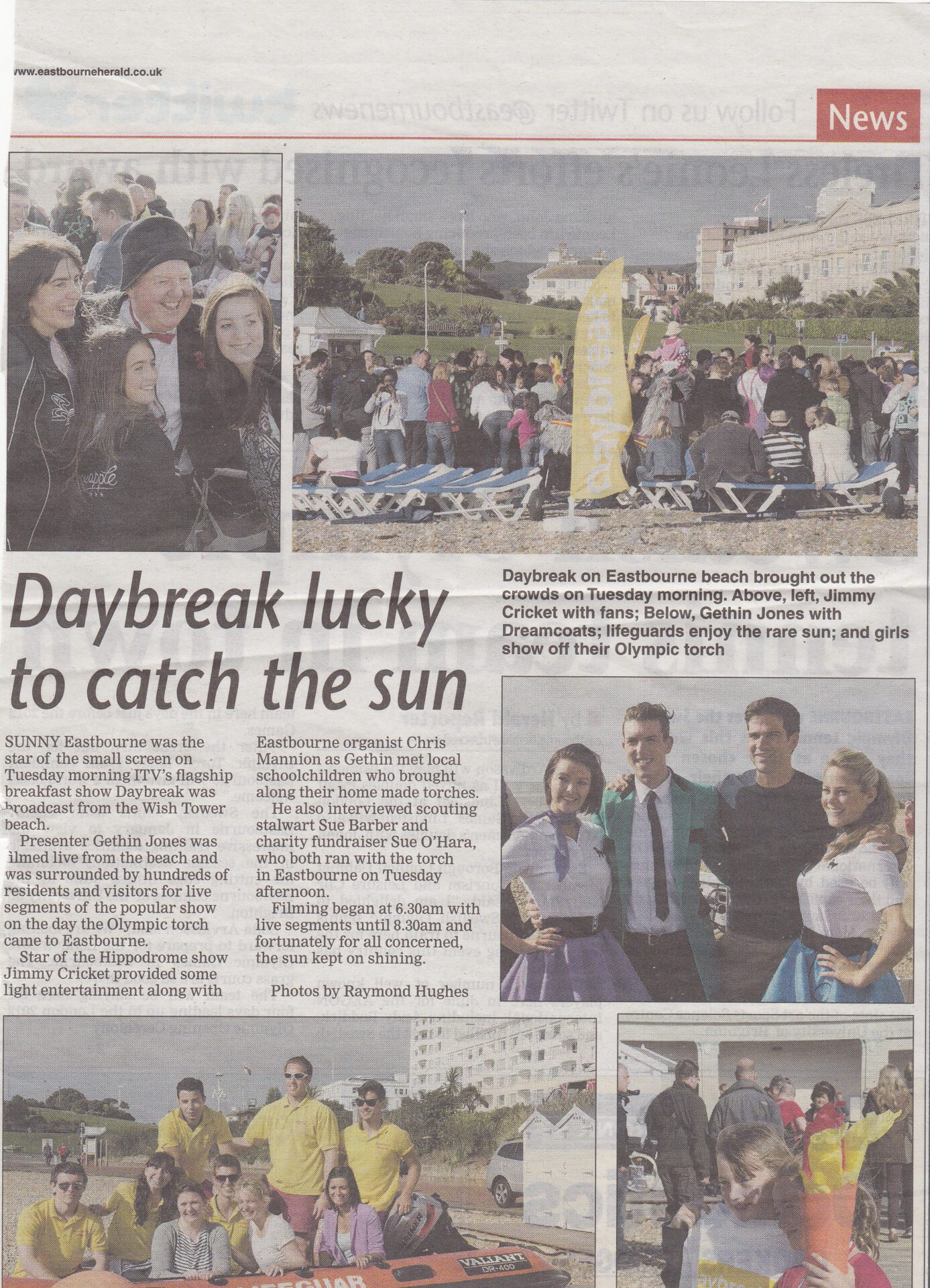 Eastbourne Herald article about Jimmy Cricket on ITV's Daybreak breakfast programme