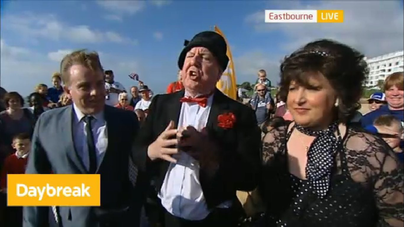 Jimmy Cricket on ITV's Daybreak with singers Colin Gold and Tracy Lea in Eastbourne
