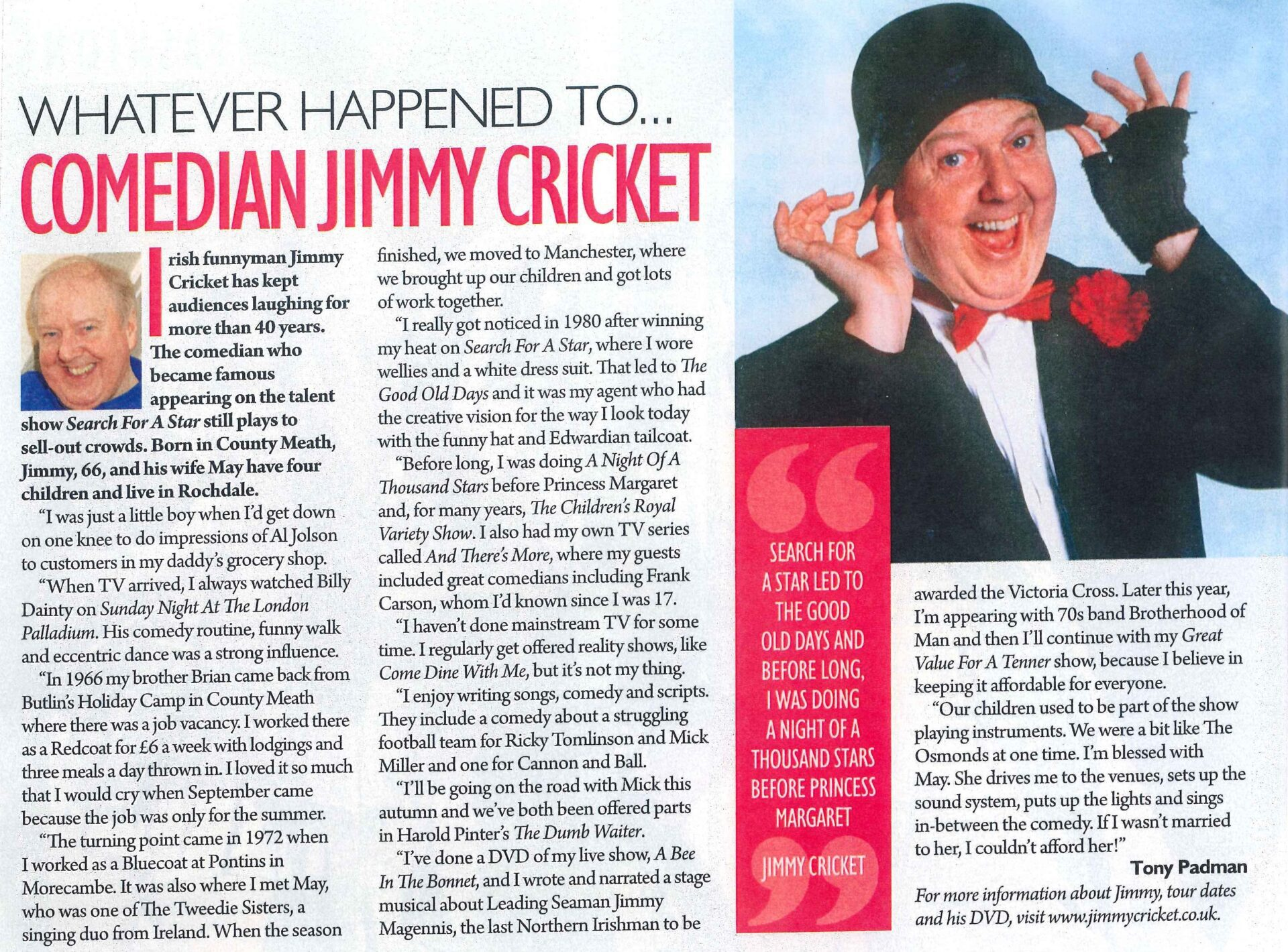 Jimmy Cricket feature in the Daily Express
