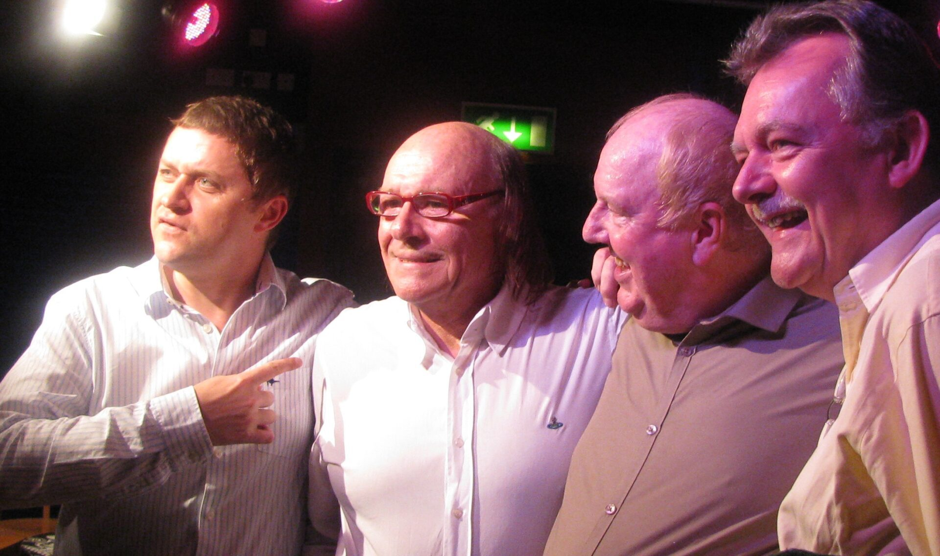 Jimmy Cricket and Mick Miller with a couple of fans before their show in Edinburgh