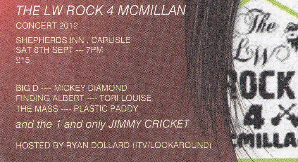 Jimmy starred in the third annual LW Rock 4 Macmillan concert at The Shepherds Inn & Auctioneer in Carlisle