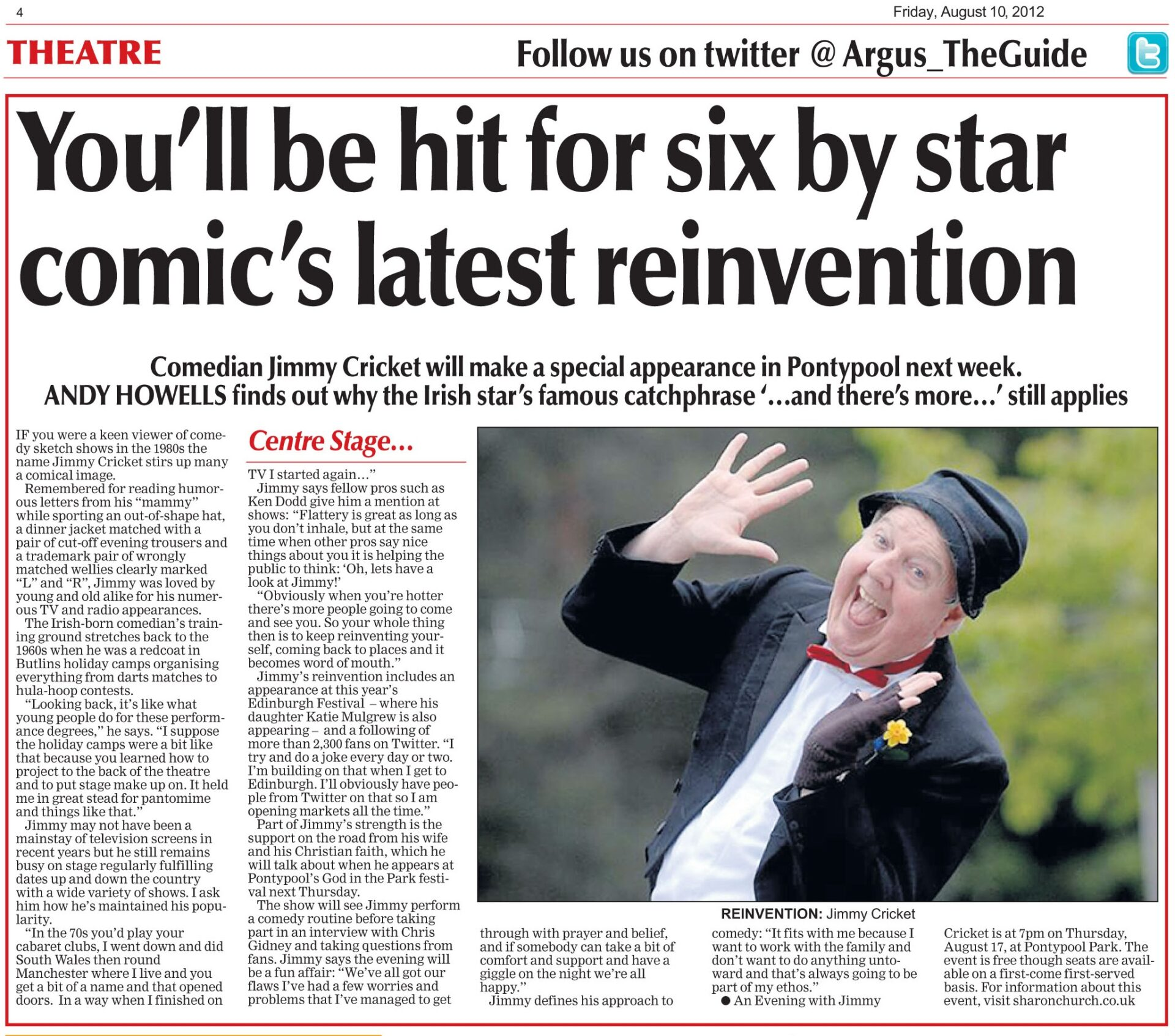 South Wales Argus article about Jimmy Cricket