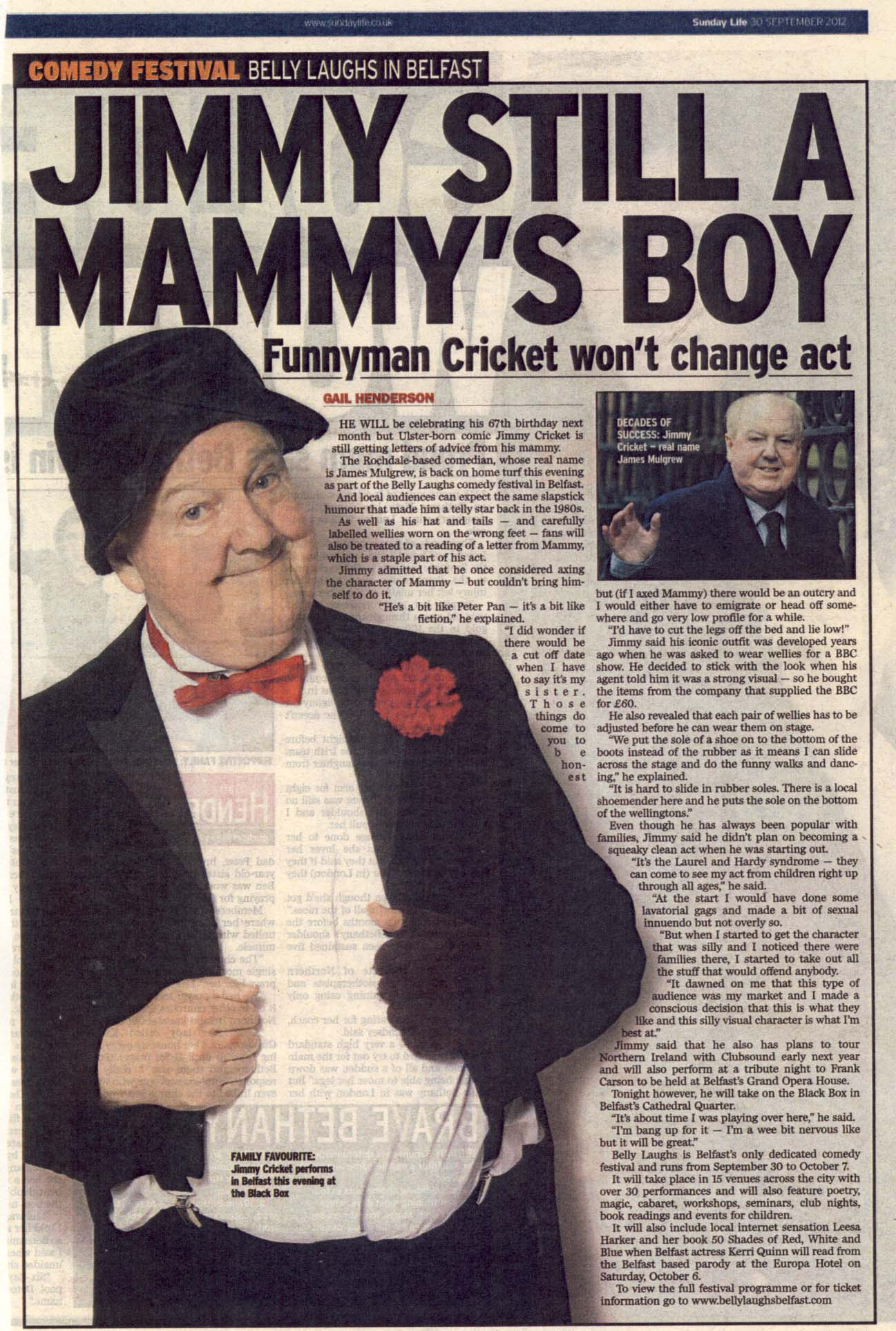 The Sunday Life article about Jimmy Cricket returning to Belfast for the festival