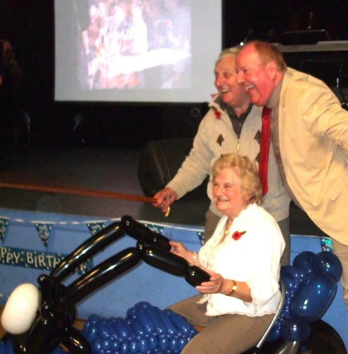 Jimmy with Fred and Connie alongside an amazing motorbike made especially for this celebration out of modelling balloons!