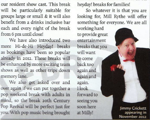 Jimmy Cricket is featured in the Mill Rythe Holiday Village internal newspaper called The Guest