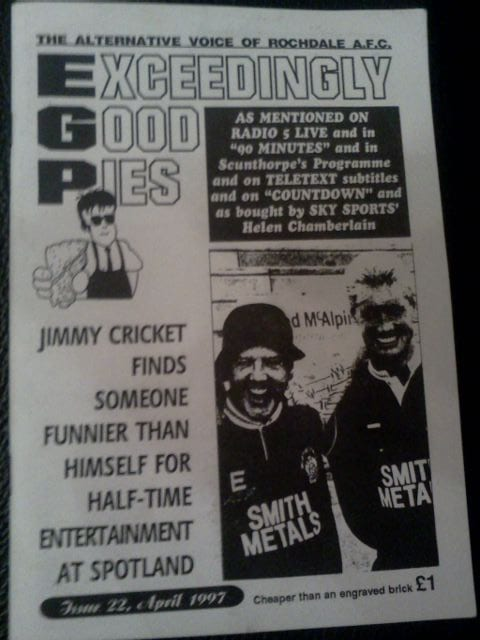 Rochdale FC fanzine showing comedian Jimmy Cricket alongside the then manager Dave Sutton
