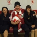 Jimmy Cricket with Cath and Lynn from the catering staff at Middlesbrough FC