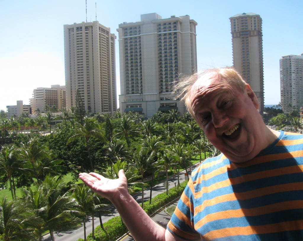 Jimmy Cricket on the balcony of his hotel in Waikiki