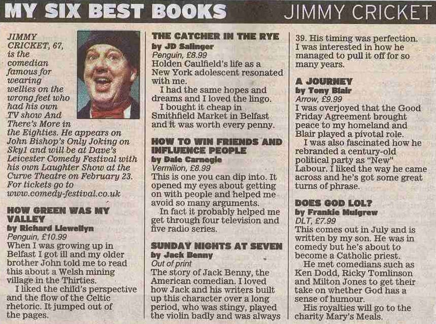 Jimmy Cricket's favourite songs appeared in the Daily Express