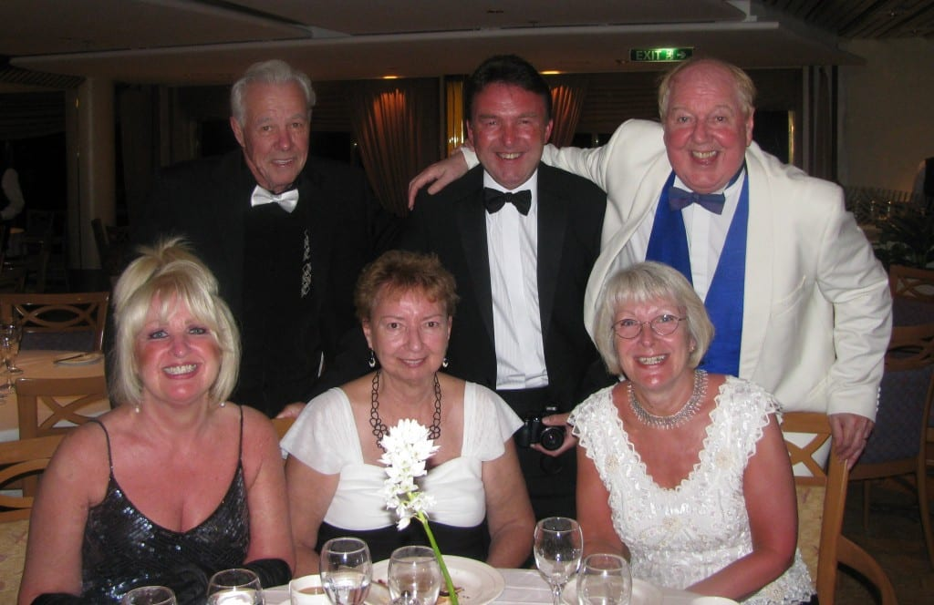 Jimmy Cricket, wife May and friends aboard the Aurora cruiseliner