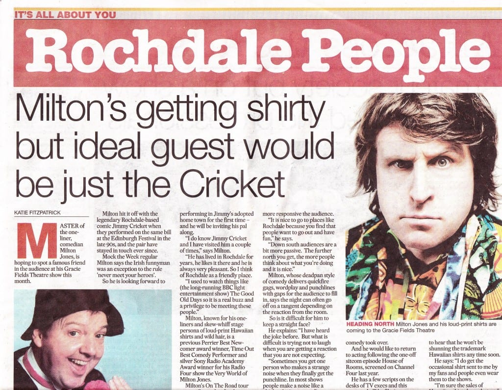 Milton Jones talks about his friendship with Jimmy Cricket in the Rochdale Observer