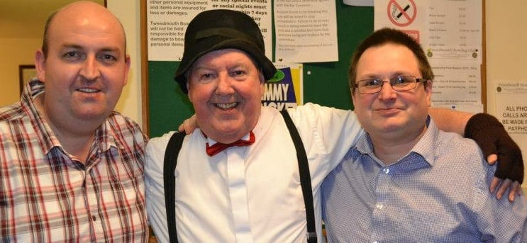 Jimmy Cricket with two bowling committee members.at Tweedmouth