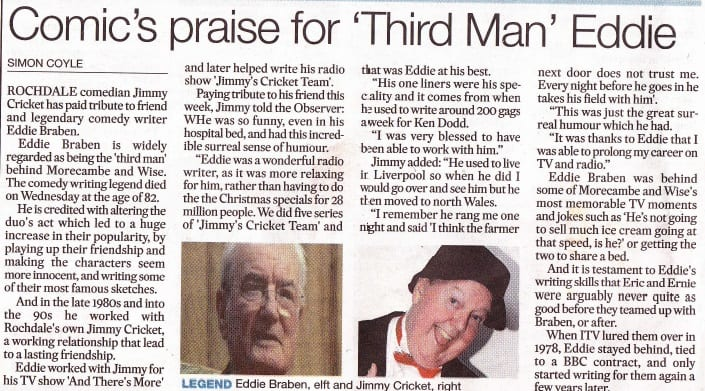 Jimmy Cricket pays tribute to Eddie Braben in the Rochdale Observer