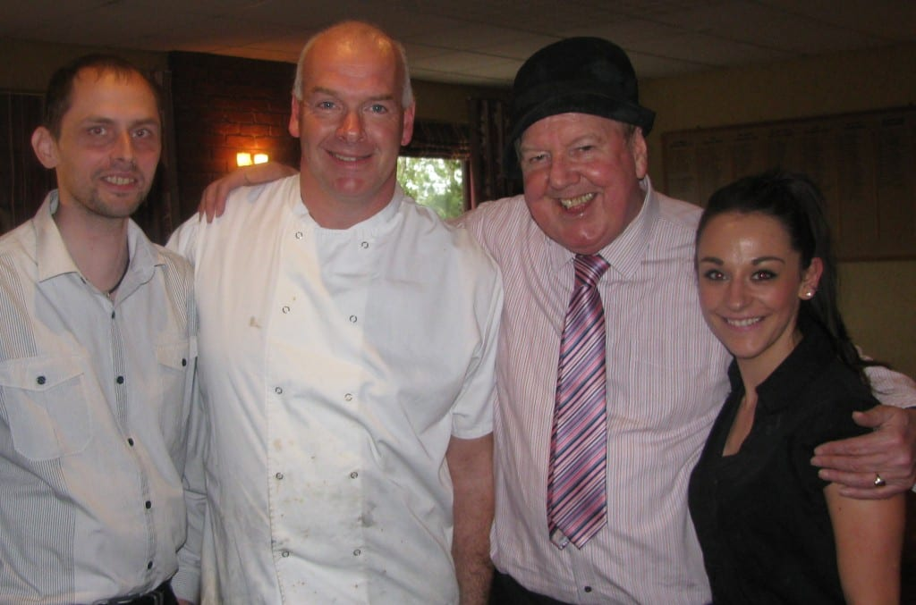 Jimmy Cricket is pictured with Frodsham Golf Club's acting manager Dean, Graham, the chef, and bar assistant Charlotte