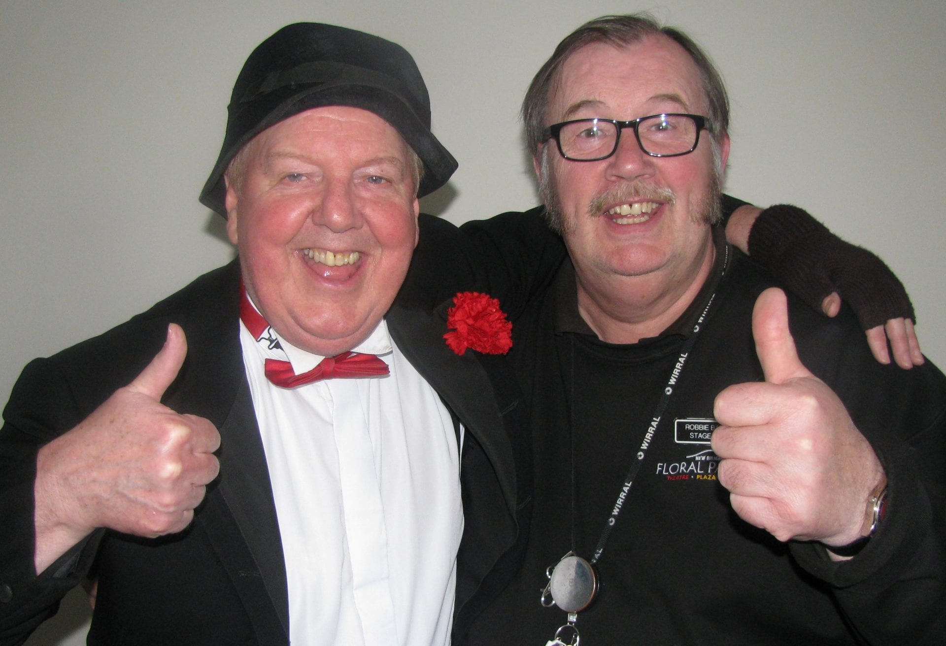 Jimmy Cricket with stage doorkeeper Robert at the Floral Pavilion in New Brighton
