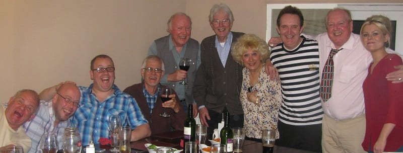 Jimmy Cricket is shown with the cast, the producer of the show, Mark Andrews (of Mark Andrews Productions) and Katie the waitress at the Ship Inn