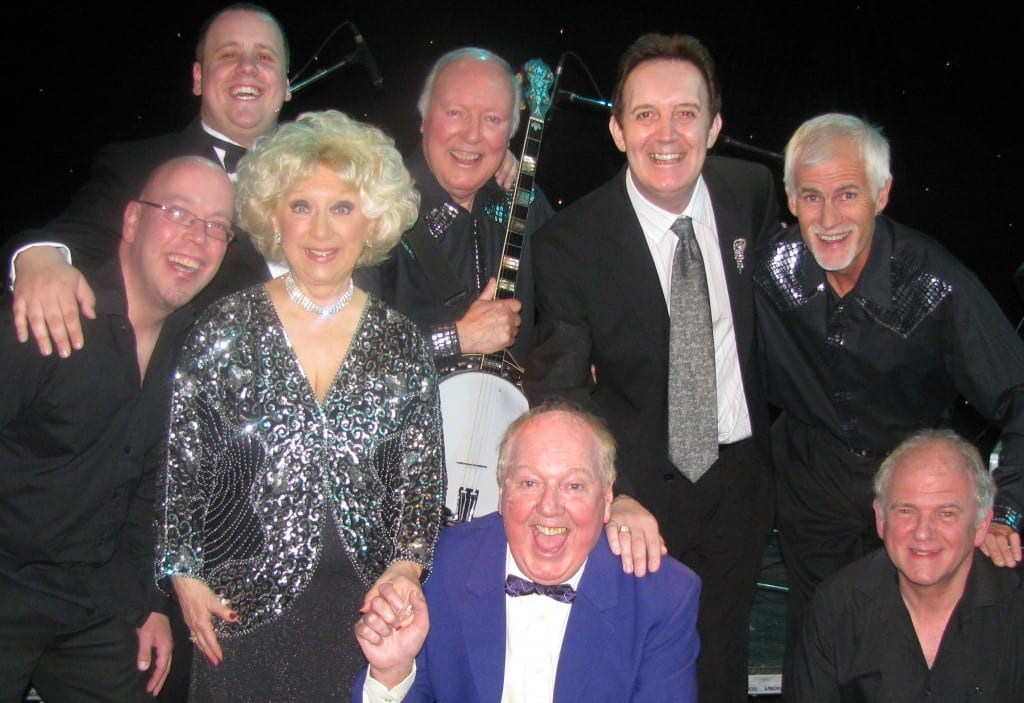 Music Hall show cast Jimmy Cricket and Mark Andrews (producer) with chairman Neil Hurst, singer Kay Carmen, Shep's Banjo Band and the show's musicians - keyboard player - Steve Warburton and Karl on drums