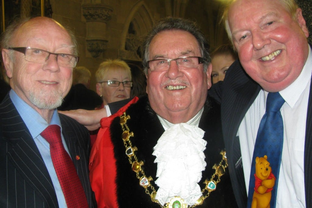 Jimmy Cricket with new Rochdale mayor Peter Rush and Heywood and Middleton MP Jim Dobbin
