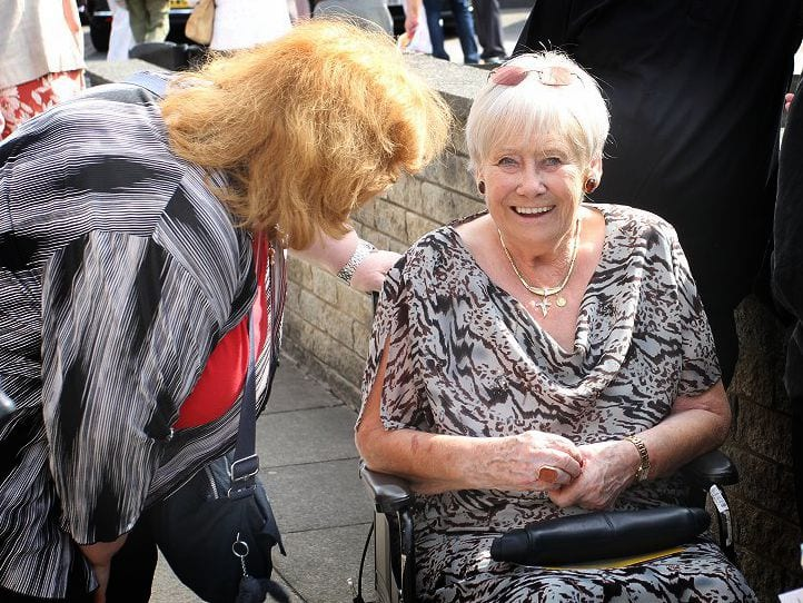 Liz Dawn (who played Vera Duckworth in Coronation Street) talks to Frankie's friend Liz Creagh after the service. Liz was at both the ordination and the First Mass and Frankie was really thrilled she came to both events