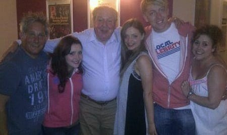 Jimmy Cricket with musician Ian Larkin, Ian's wife Michelle (the show's stage manager) and members of the company from the summer show