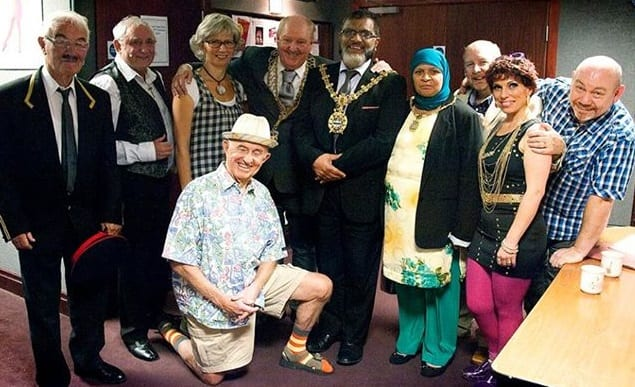 The opening night of the premiere of Jimmy Cricket's new musical, Maloney's Big Moment. The photo was taken backstage at the Thwaites Empire Theatre in Blackburn and features Jimmy with the cast of the show, alongside the Mayor and Mayoress of Blackburn