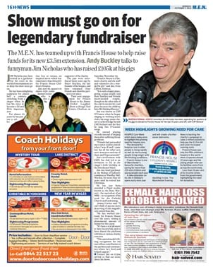 Jim Nicholas was featured in the Manchester Evening News for all his fund-raising work for the Francis House Children's Hospice in Manchester
