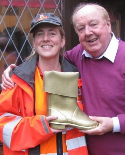 Jimmy Cricket with Golden Wellie award winner Sarah the postwoman
