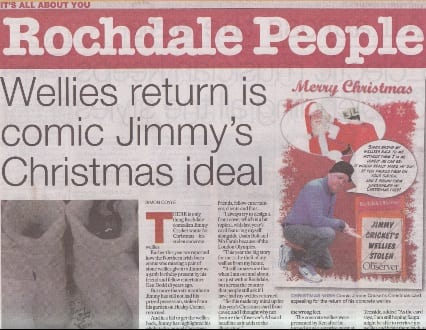 Jimmy Cricket's Christmas card which features in the Rochdale Observer