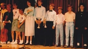 Philip Lewis is on the right of the talent show line-up