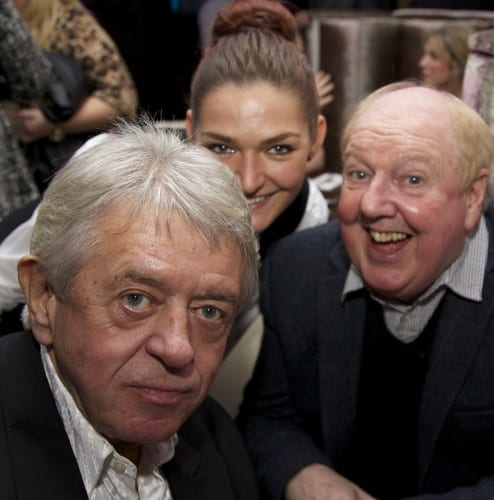 Jimmy Cricket with Micky Martin and a member of the restaurant staff