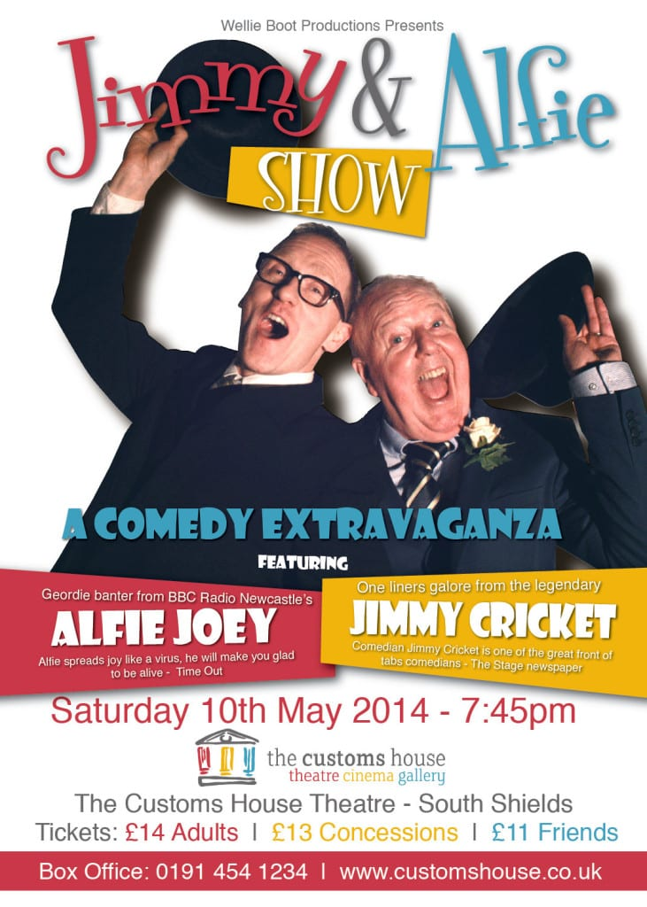 Jimmy Cricket is set to join forces with BBC Radio Newcastle's Alfie Joey for a comedy show to be reckoned with at South Shield's The Customs House