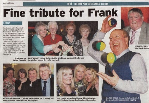 Irish Post  feature about Jimmy Cricket was at the Leeds Mayo Association's annual dinner dance at the Leeds Irish Centre