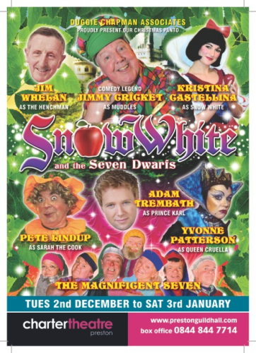 Jimmy Cricket will be appearing in Snow White and the Seven Dwarfs at Preston's Charter Theatre