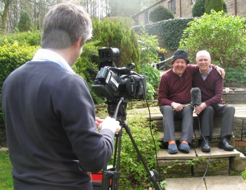 Jimmy Cricket and Martin Logan were filmed for Irish TV