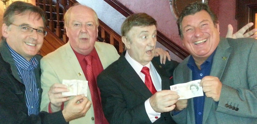 Jimmy Cricket with entertainer Eric Devereaux, swing singer Andy Prior and comedian Austin Knight
