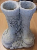 Ken Dodd signed the new concrete wellies for fellow comedian Jimmy Cricket