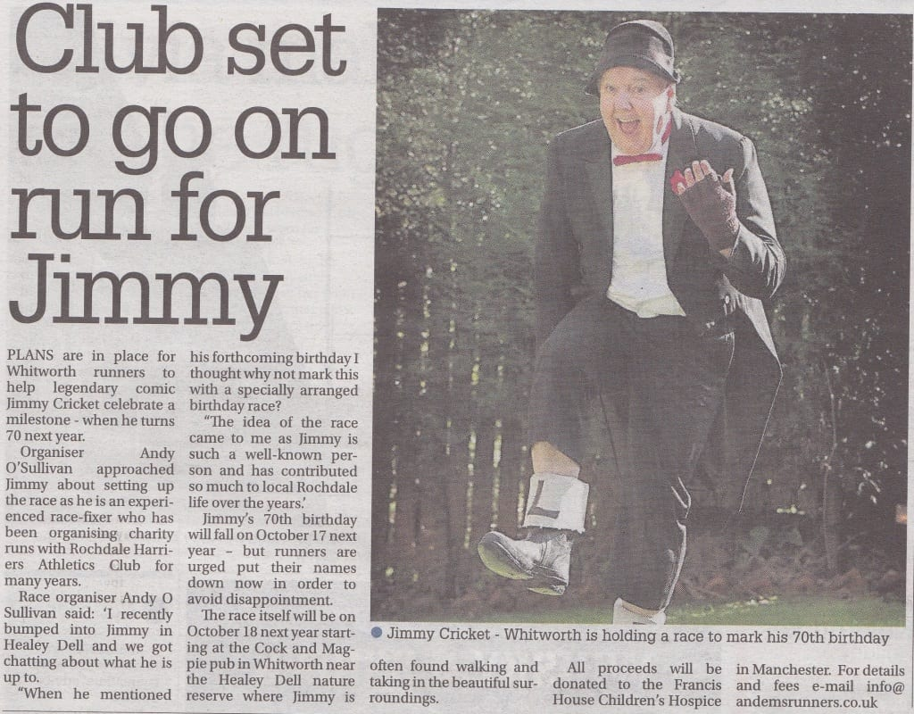 Jimmy Cricket's plans for a fun run were featured in the Rochdale Observer newspaper