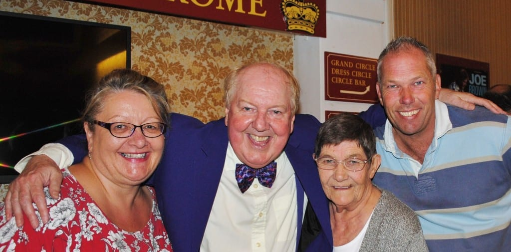 Jimmy Cricket with a family who had come to see the show. They are: Ali O' Grady, her husband and mother-in-law