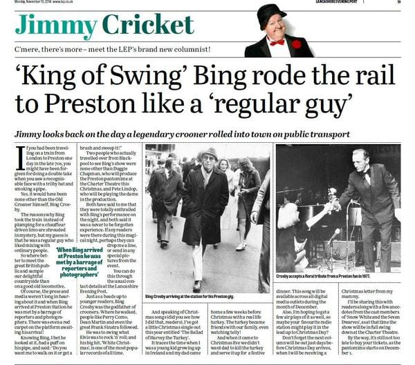 Bing Crosby is the subject of Jimmy Cricket's latest Lancashire Evening Post column