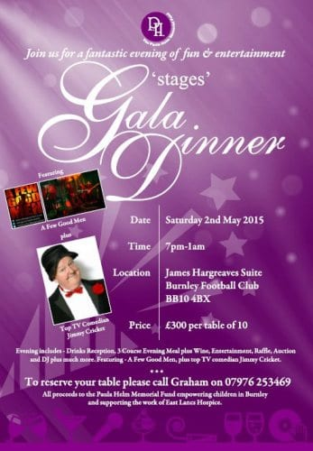 The gala dinner featuring Jimmy Cricket takes place at the James Hargreaves suit at Burnley Football Club