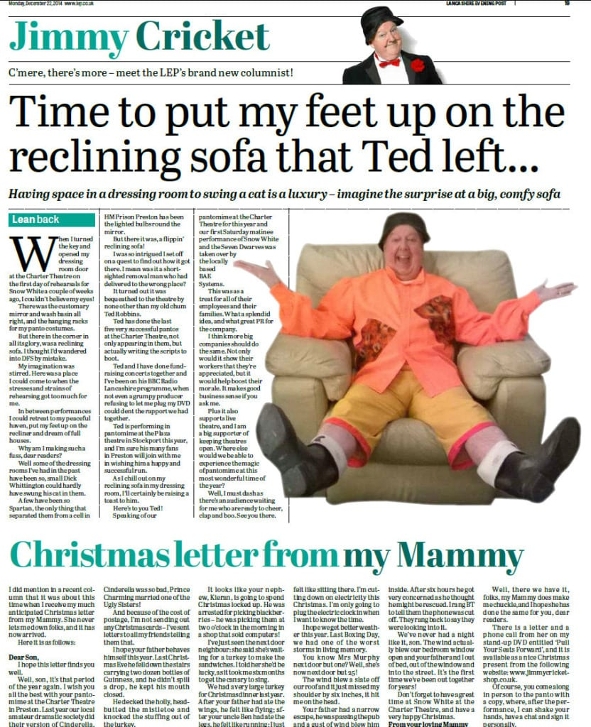 Jimmy Cricket's Christmas column in the Lancashire Evening Post