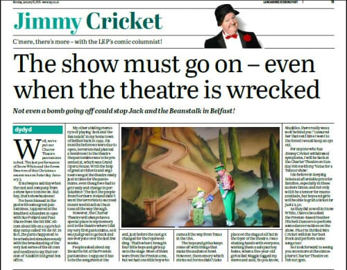 Jimmy Cricket's latest column in the Preston-based Lancashire Evening Post
