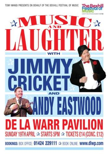Jimmy Cricket will appear alongside Andy Eastwood at the De La Warr Pavilion in Bexhill-on-Sea, East Sussex, on Sunday 19 April