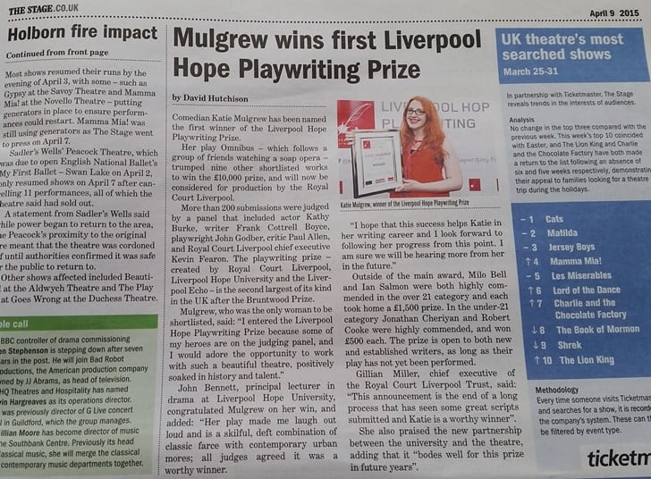 The Stage newspaper reported on Katie Mulgrew's success