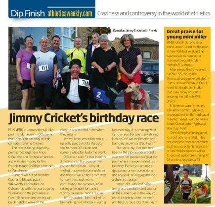 Athletics Weekly reported on Jimmy Cricket's forthcoming fun run