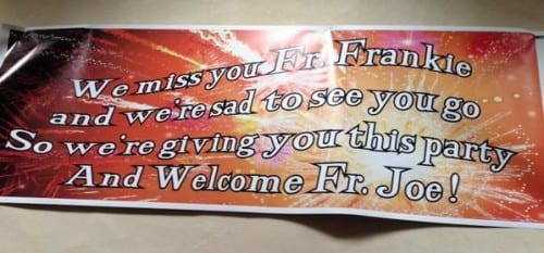 A banner marking Fr Frankie's departure from St Michael and St John's