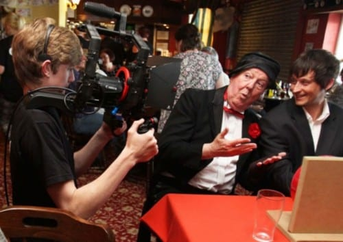 Jimmy Cricket has a joke with colleagues during recording of Womble the movie