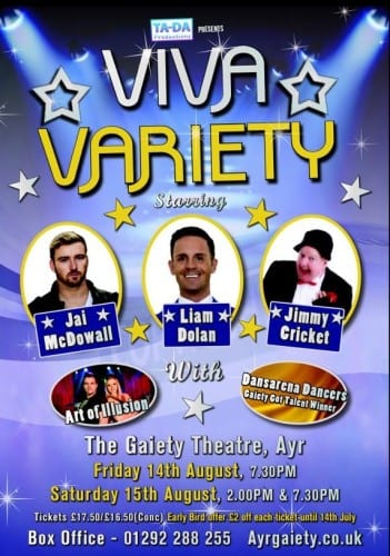 Viva Variety takes place at the Gaiety Theatre in Ayr on 14 August