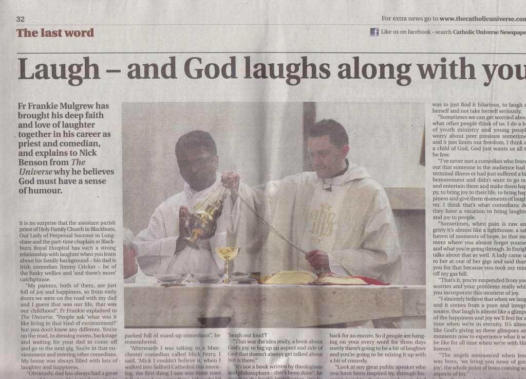 Fr Frankie Mulgrew, son of Jimmy Cricket, is featured in The Catholic Universe