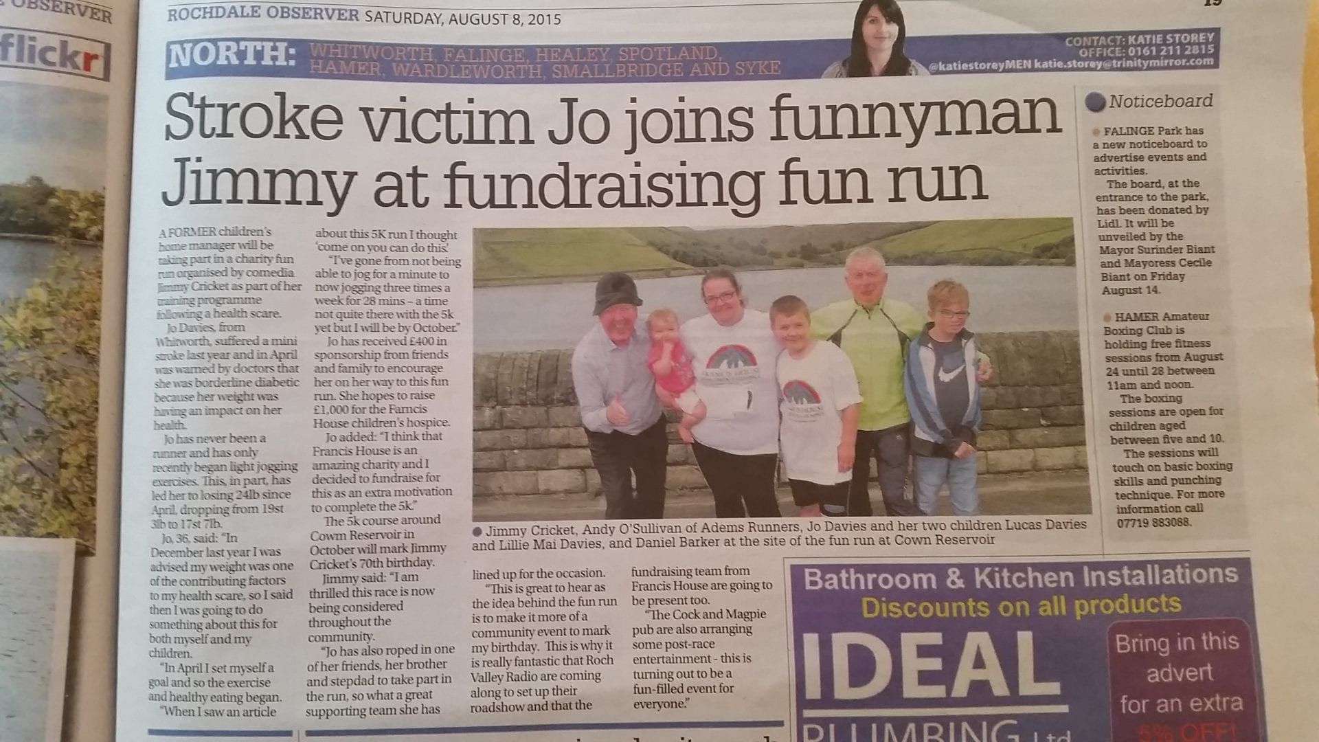 The Rochdale Observer published a story about Jimmy Cricket's charity fun run
